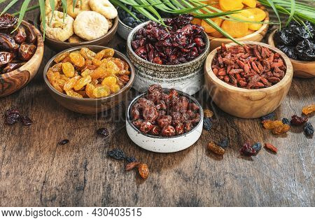Dried Fruits Bowl. Healthy Food Snack: Sun Dried Organic Mix Of Apricots, Figs, Raisins, Dates And O