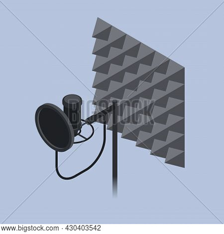 Voice Recording Equipment Isometric Vector Illustration. Professional Microphone And Studio Foam Rub