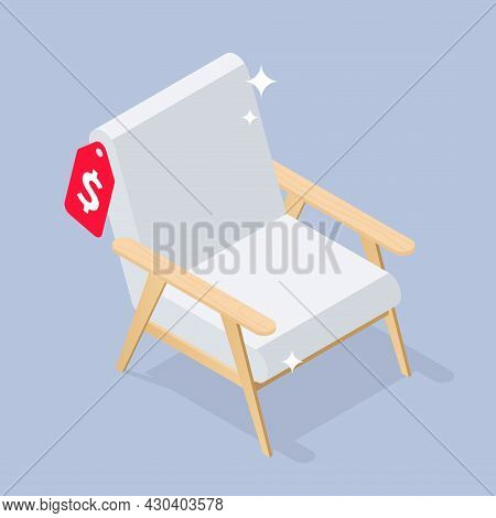 New Comfortable Chair Isometric Vector Illustration. Shiny Comfy Domestic, Office Furniture With Pri