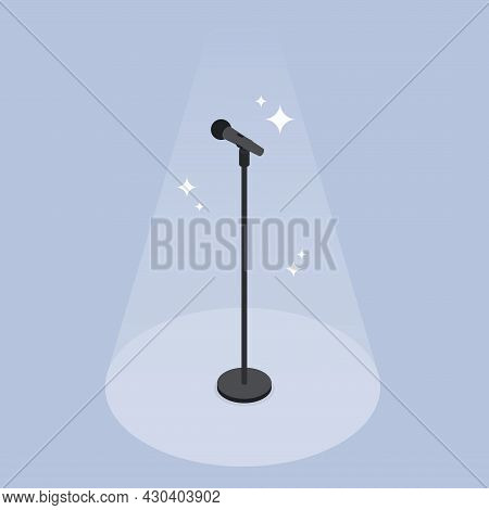Performance Microphone Isometric Vector Illustration. Shining Audio Equipment For Acoustic Professio