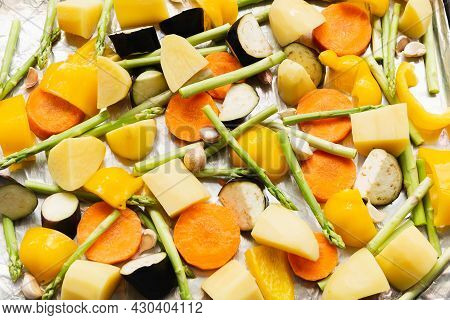 Chopped Stewed Vegetables On Tray Food Background, Closeup