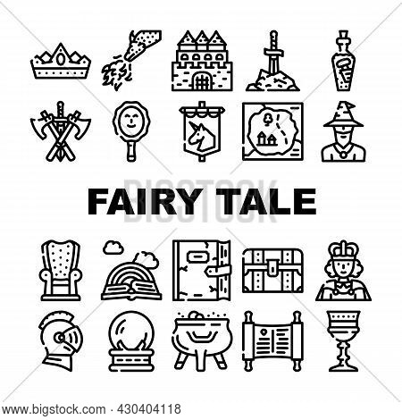Fairy Tale Story Medieval Book Icons Set Vector. Castle And Knight Armour Equipment, Magician And Wi