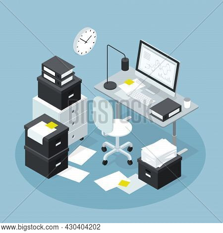 Isometric Office Workplace With Papers Storage Vector Illustration. Modern Workspace With Computer A