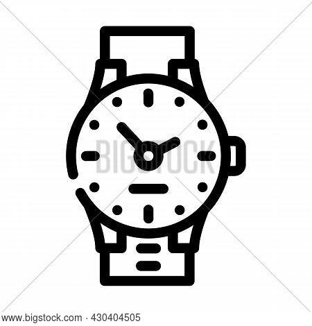 Wrist Clock Line Icon Vector. Wrist Clock Sign. Isolated Contour Symbol Black Illustration
