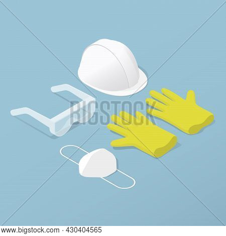 Protective Workwear Costume Isometric Vector Illustration. Handicraft Clothes Equipment For Protecti