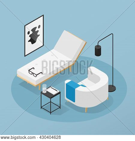 Psychotherapist Office Isometric Vector Illustration. Psychiatrist Session In Mental Health Clinic.