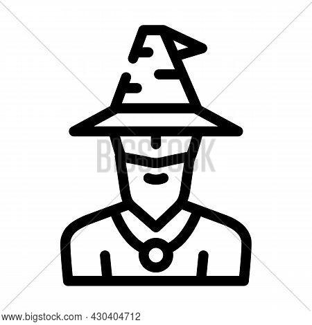 Magician Fairy Tale Line Icon Vector. Magician Fairy Tale Sign. Isolated Contour Symbol Black Illust