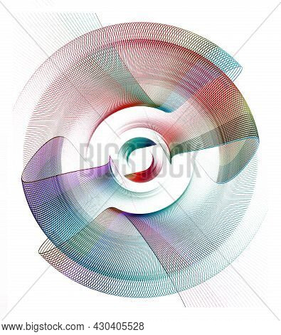 Colorful Beautifully Curved Abstract Propeller Blades Rotate On A White Background. Graphic Design E