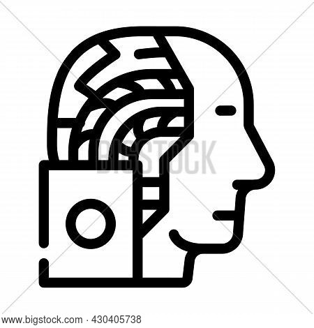 Artificial Intelligence Robot Line Icon Vector. Artificial Intelligence Robot Sign. Isolated Contour