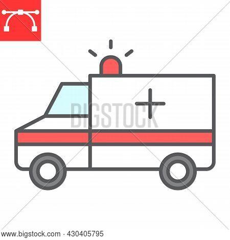 Ambulance Color Line Icon, Transportation And Vehicle, Ambulance Car Vector Icon, Vector Graphics, E