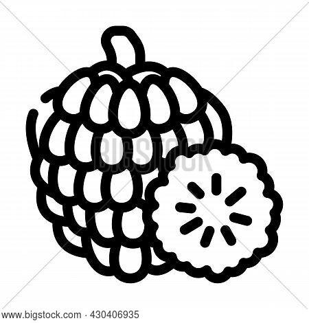 Custard Apple Fruit Line Icon Vector. Custard Apple Fruit Sign. Isolated Contour Symbol Black Illust