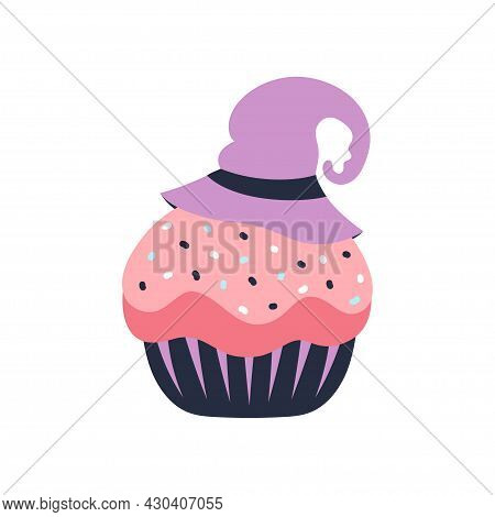 Cute Cartoon Vector Cupcake With Witch Hat, Funny Halloween Illustration Isolated On White Backgroun