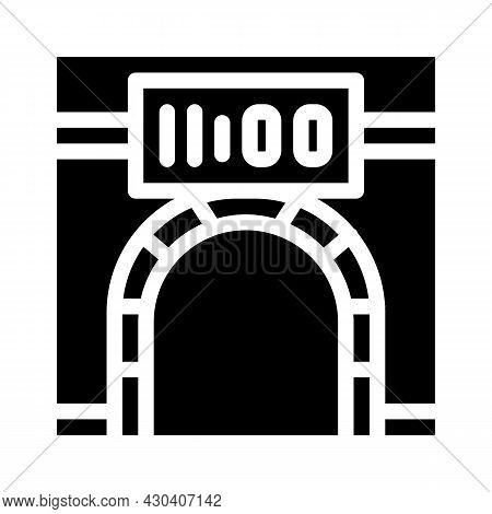 Metro Underground Clock Glyph Icon Vector. Metro Underground Clock Sign. Isolated Contour Symbol Bla