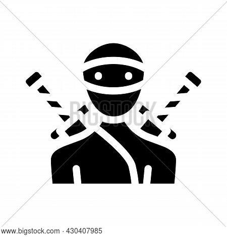 Ninja Fantasy Character Glyph Icon Vector. Ninja Fantasy Character Sign. Isolated Contour Symbol Bla