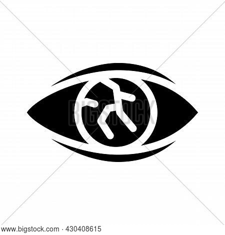 Lens Injury Ophthalmology Glyph Icon Vector. Lens Injury Ophthalmology Sign. Isolated Contour Symbol