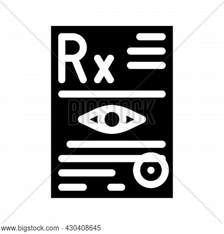 Recipe Ophthalmology Glyph Icon Vector. Recipe Ophthalmology Sign. Isolated Contour Symbol Black Ill