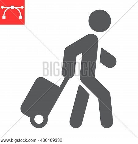 Person Pulling Luggage Glyph Icon, Migration And Tourist, Passenger With Rolling Bag Vector Icon, Ve