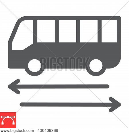 Shuttle Bus Glyph Icon, Travel And Airport, Bus Vector Icon, Vector Graphics, Editable Stroke Solid