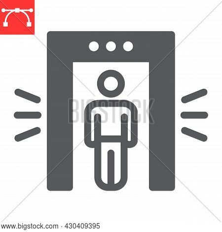 Metal Detector Glyph Icon, Security And Airport, Security Control Vector Icon, Vector Graphics, Edit
