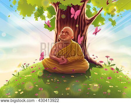 Buddhist Monk In Deep Samadhi Meditation In Yellow Clothes Sits Under The Bodhi Tree. Yogi Buddha In