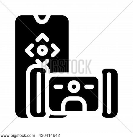 Electronic Pet Toy With Remote Control Glyph Icon Vector. Electronic Pet Toy With Remote Control Sig