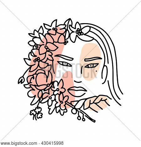 Linear Female Face Woth Blooming Branch. Feminine Continuous Lines Minimalist Artwork With Flowers A