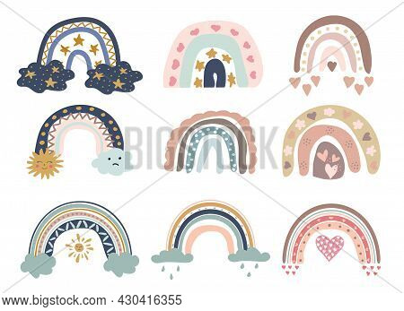 Cute Colorful Rainbows Set. Childish Flat Vector Illustrations Collection. Weather Forecast, Meteoro