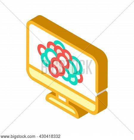 Color Blindness Test Ophthalmology Isometric Icon Vector. Color Blindness Test Ophthalmology Sign. I