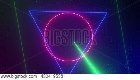 Image of rotating pink, blue, green neon shapes with pink, green and blue lasers, on black. technology, energy and movement concept, digitally generated image.