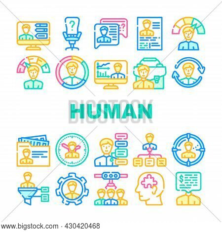 Human Resources Hr Department Icons Set Vector. Candidate Skills And Salary Money Talking, Cv Resear