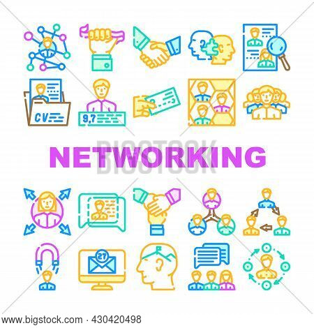 Networking Global Communication Icons Set Vector. People Networking Connection And Discussion, Cards