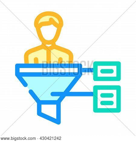 Funnel Candidate Color Icon Vector. Funnel Candidate Sign. Isolated Symbol Illustration