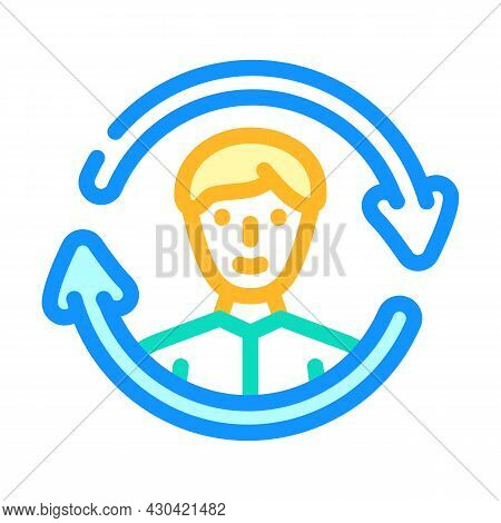 Updating Employee Color Icon Vector. Updating Employee Sign. Isolated Symbol Illustration