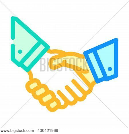 Handshake Partners Color Icon Vector. Handshake Partners Sign. Isolated Symbol Illustration