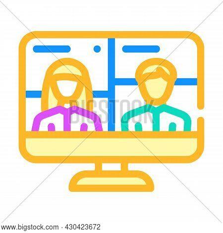 Video Conference Discussion Color Icon Vector. Video Conference Discussion Sign. Isolated Symbol Ill