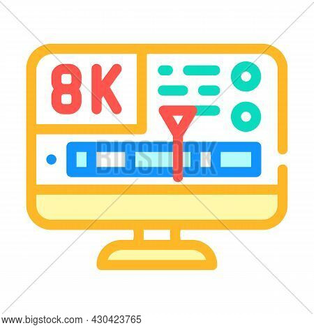 Processing Video Quality Color Icon Vector. Processing Video Quality Sign. Isolated Symbol Illustrat