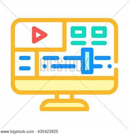 Video Processing Software Color Icon Vector. Video Processing Software Sign. Isolated Symbol Illustr