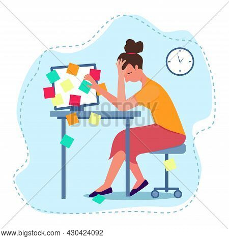 Exhausted Woman Vector Illustration. Overloaded Exhausted Worker. Mental Health Problems Vector Conc
