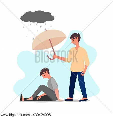 Man Is Comforting Another Man, While He Is In Depression. Psychological Help, Comforting, Mental Hea