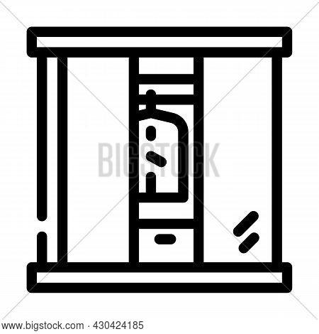 Wardrobe Cabinets Furniture Line Icon Vector. Wardrobe Cabinets Furniture Sign. Isolated Contour Sym