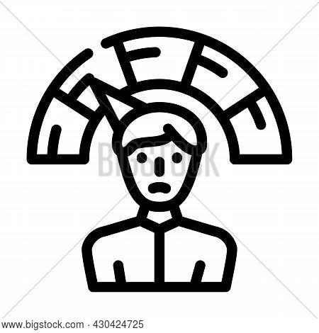 Negative Employee Level Line Icon Vector. Negative Employee Level Sign. Isolated Contour Symbol Blac