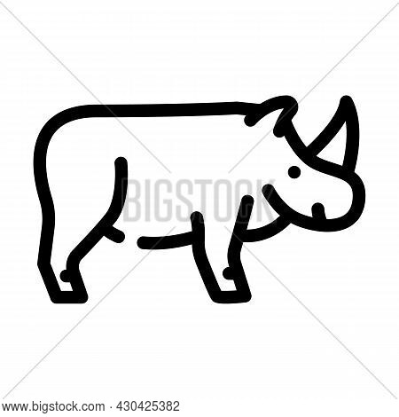 Rhinoceros Animal Line Icon Vector. Rhinoceros Animal Sign. Isolated Contour Symbol Black Illustrati