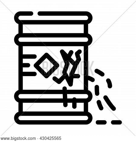 Waste Leakage From Barrel Line Icon Vector. Waste Leakage From Barrel Sign. Isolated Contour Symbol