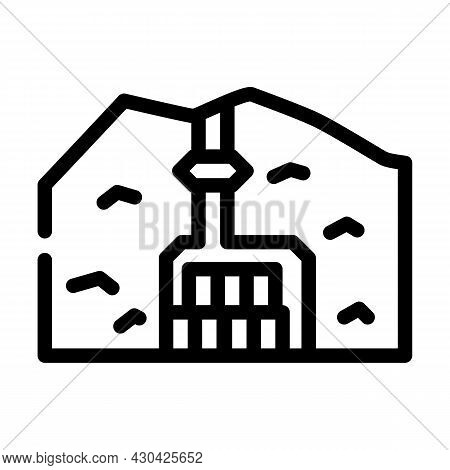 Special Burial In Mountain Line Icon Vector. Special Burial In Mountain Sign. Isolated Contour Symbo