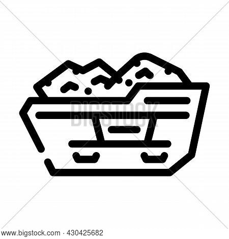 Construction Waste Container Line Icon Vector. Construction Waste Container Sign. Isolated Contour S