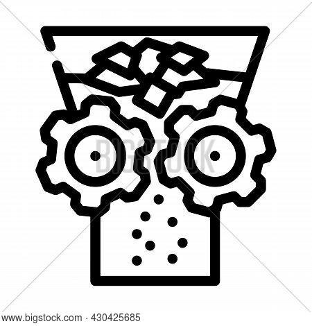 Shredding Solid Waste Line Icon Vector. Shredding Solid Waste Sign. Isolated Contour Symbol Black Il