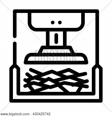 Pressing Solid Waste Line Icon Vector. Pressing Solid Waste Sign. Isolated Contour Symbol Black Illu
