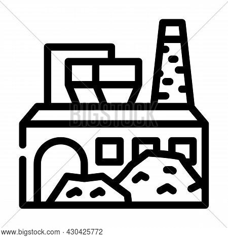Industrial Processing Solid Waste Line Icon Vector. Industrial Processing Solid Waste Sign. Isolated
