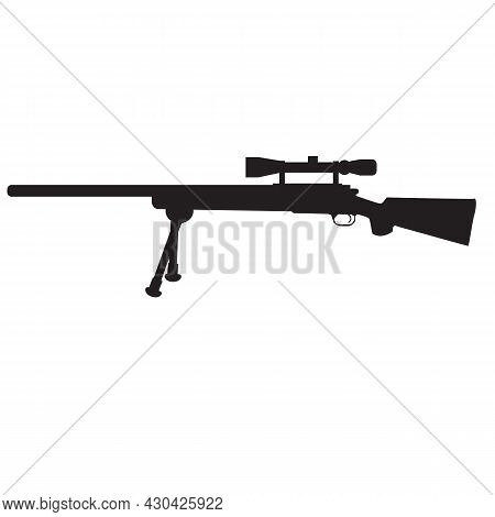 Sniper Hunting Rifle Icon On White Background. Sniper Rifle Sign. Flat Style.