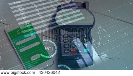 Image of financial data processing over payment terminal and smartphone. global finances, business and contactless payment concept digitally generated image.